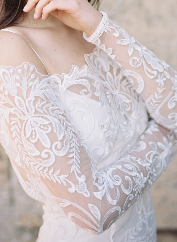 Wren Wedding Dress, Lace Detail - Cherry Williams, Bridalwear London
